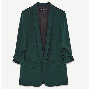 Zara crepe blazer dark green large
